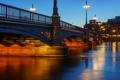 Картинка ночь, мост, город, река, фото, дома, фонари