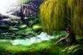 Картинка трава, цветы, гора, водопад, Девушка, ива