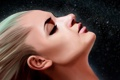 Картинка девушка, абстракция, лицо, волосы, арт, искры, блондинка