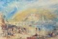 Картинка пейзаж, река, Heidelberg with a Rainbow, Уильям Тёрнер, люди, горы, мост