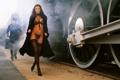 Картинка грудь, девушка, ноги, модель, белье, поезд, паровоз