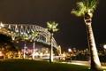 Картинка ночь, мост, огни, пальма, Австралия, Сидней