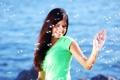 Картинка море, девушка, радость, счастье, улыбка, фон, настроение