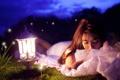 Картинка ночь, отдых, лампа, фонарь, азиатка