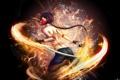 Картинка девушка, темный фон, оружие, арт, коса, assassin