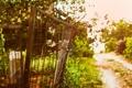 Картинка закат, боке, забор, лето