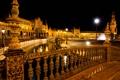 Картинка ночь, огни, Испания, Севилья, площадь Испании