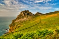 Картинка облака, трава, небо, горы, Exmoor, эксмур, скала