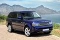 Картинка синий, внедорожник, небо, Ренж Ровер, передок, вода, Land Rover
