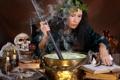 Картинка дым, череп, свечи, ведро, ведьма, чан, венок