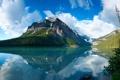 Картинка небо, облака, пейзаж, горы, озеро, отражение, синее