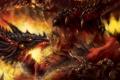 Картинка оружие, фантастика, огонь, дракон, доспехи, арт, битва