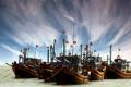 Картинка море, небо, облака, корабль, бухта, баркас