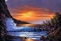 Картинка waves, sea, sunset, painting, Derk Hansen, bush, bloom