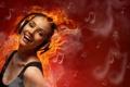 Картинка улыбка, ноты, настроение, огонь, наушники