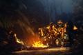 Картинка ночь, костер, Transformers, Bumblebee, лагерь, camping, autobot