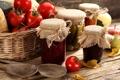 Картинка варенье, яблоки, банки, корзина, фрукты, закатка, огурцы
