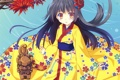 Картинка девушка, цветы, ветви, аниме, арт, кимоно, nanao naru