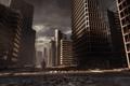 Картинка город, война, человек, постапокалипсис