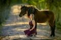 Картинка настроение, девушка, конь, дорога