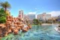 Картинка небо, пальма, водопад, бассейн, каскад, казино, лас вегас