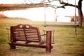 Картинка качель, скамейка, трава, скамья, парк