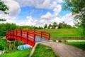 Картинка небо, трава, облака, деревья, мост, парк, ручей