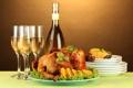 Картинка стол, вино, белое, апельсин, еда, курица, бокалы