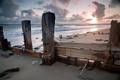 Картинка песок, море, волны, небо, пейзаж, закат, камни