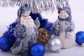 Картинка синий, шары, серебряный, мишура, Дед Мороз, Снеговик