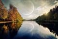 Картинка небо, деревья, природа, река, луна