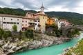Картинка небо, облака, мост, река, дома, Словения, Slovenia