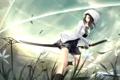 Картинка трава, девушка, солнце, оружие, ветер, магия, жест