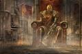 Картинка трубы, оружие, фантастика, механизм, арт, трон, помещение