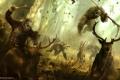 Картинка лес, обезьяна, охота, антилопы, Цезарь, Caesar, Планета обезьян: Революция