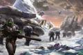Картинка снег, оружие, скалы, транспорт, планета, корабли, войны