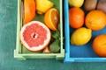 Картинка лимон, апельсин, цитрусы, мята, грейпфрут