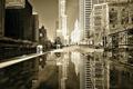 Картинка осень, отражение, здания, небоскребы, лужа, америка, чикаго