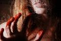 Картинка стекло, девушка, капли, кровь