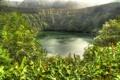 Картинка зелень, деревья, горы, озеро, кратер, Португалия, кусты