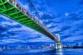 Картинка облака, ночь, мост, луна, дома, Япония, Токио