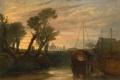 Картинка деревья, пейзаж, река, лодка, картина, Уильям Тёрнер, Аббатство Ньюарк