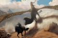 Картинка фантастика, дракон, крылья, пасть, всадник