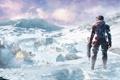 Картинка небо, снег, взрыв, база, автомат, Capcom, Уэйн