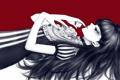 Картинка роза, Девушка, лежит, красный фон