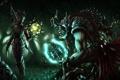 Картинка лес, ночь, магия, монстр, лук, арт, нож