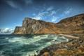Картинка море, небо, облака, горы, скалы, берег, прибой
