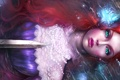 Картинка цветок, взгляд, вода, девушка, оружие, магия, ariel