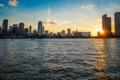 Картинка Закат, Вода, Дома, Майами, Флорида, Здания, США