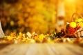 Картинка осень, тыквы, травка, корзинка, листики, рябина